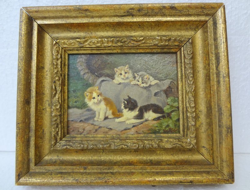 "Antique Oil Painting On Board ""Kittens"""