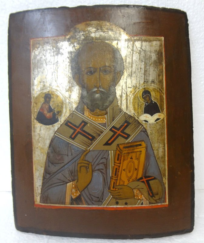 19th Century Russian Icon on Wood
