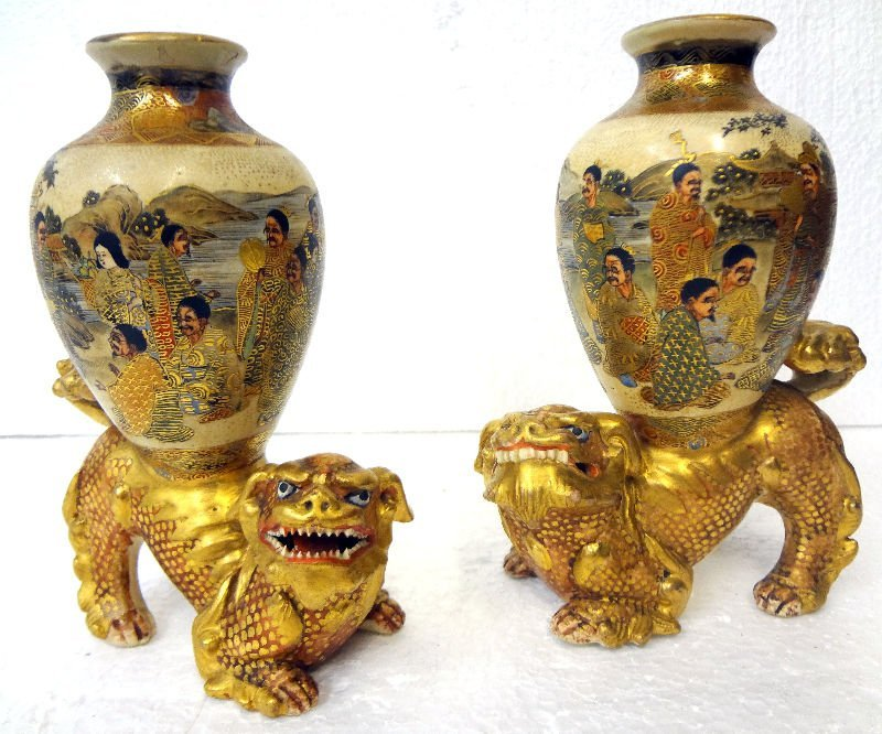 Pair of Antique Satsuma Figural Foo Dog Vases