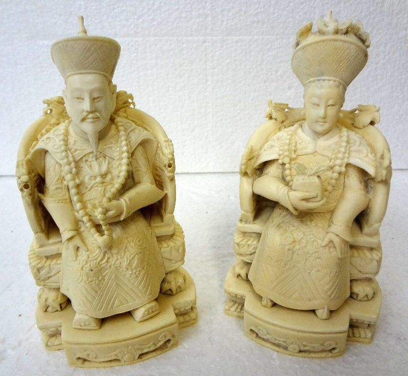 Chinese Pair of Carved Ivory King & Queen