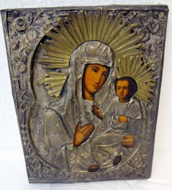 Antique Brass Russian Icon on Wood of Madonna & Child