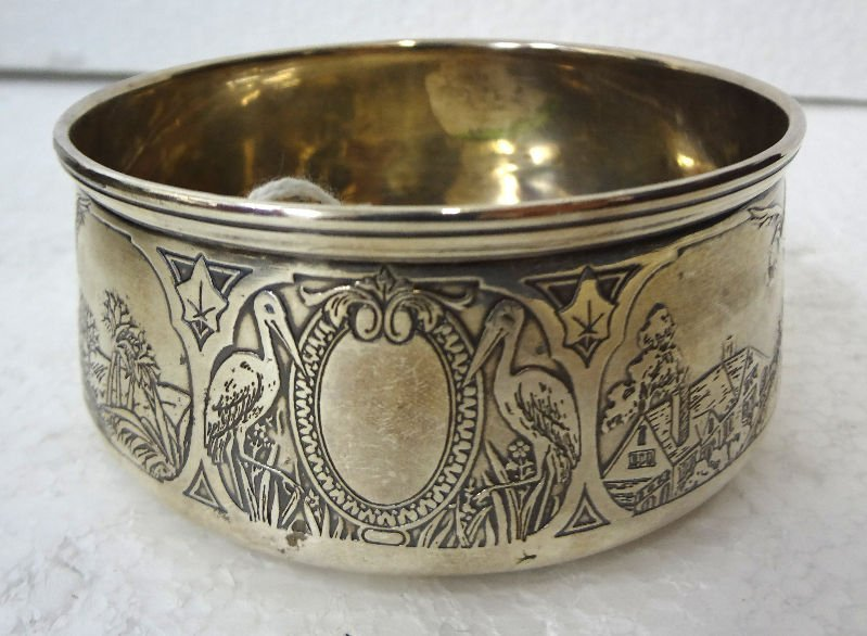 Sterling Silver Etched Bowl