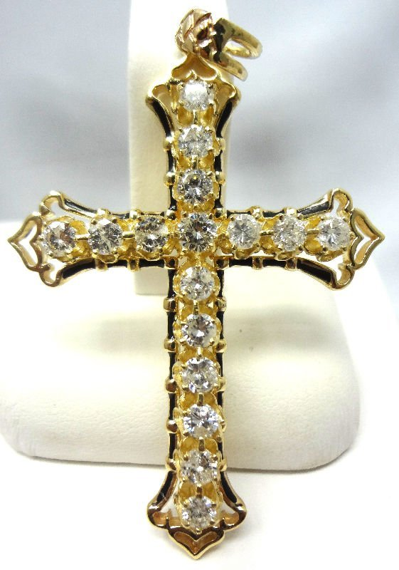 14Kt Y.G. Approx. 3.5ct Diamond Cross