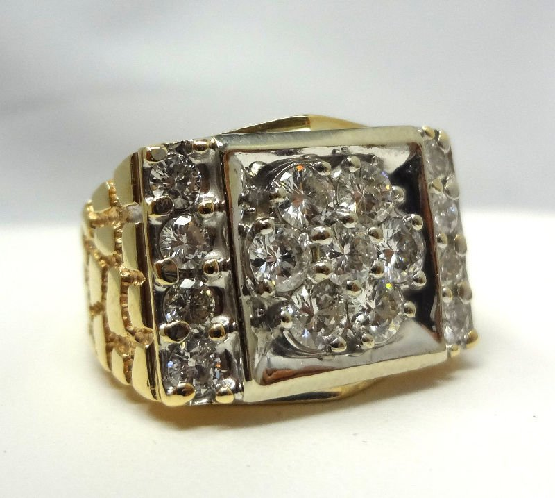 10Kt Y.G. Approx. 2.0ct Diamond Nugget Ring