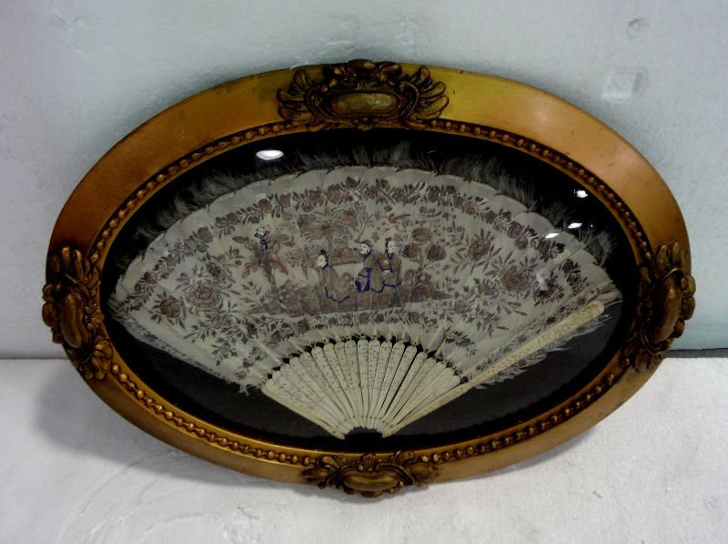 Antique Chinese Silk & Ivory Fan