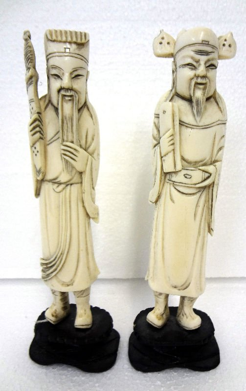 Pair Chinese 19th Century Carved Ivory Elders