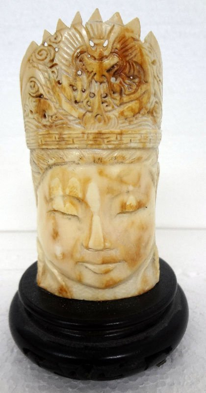 Chinese Carved Ivory Head Pencil Holder