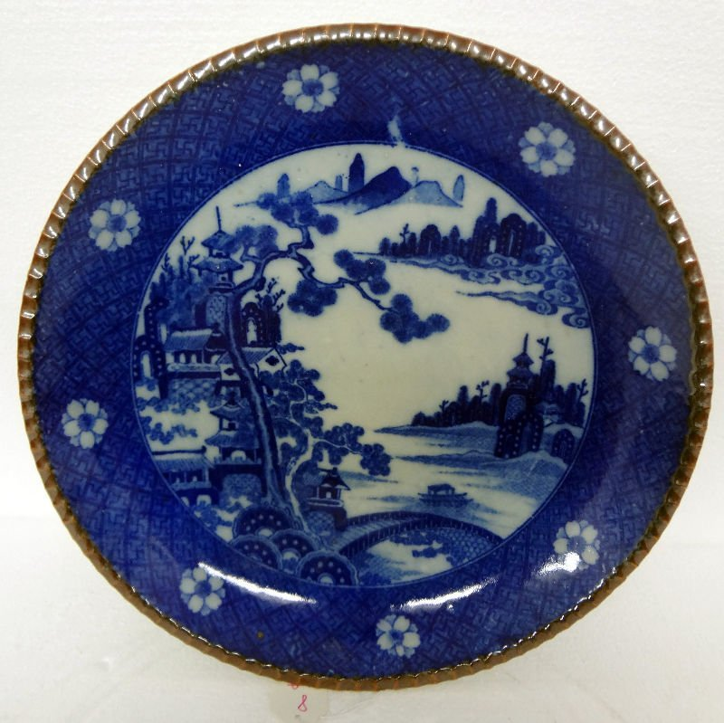 Antique Chinese Hand Painted Blue & White Porcelain Pla