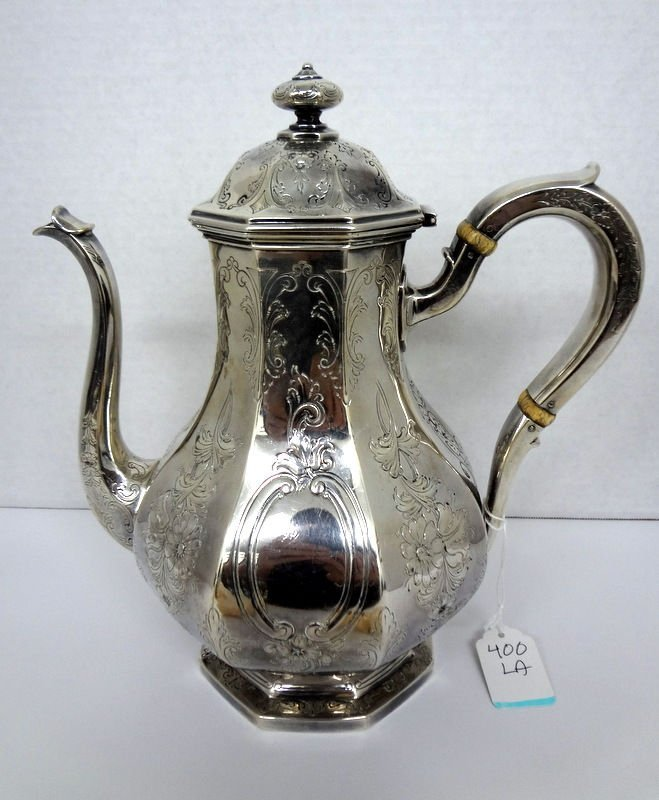 Gorham Sterling Silver Etched Coffee Pot