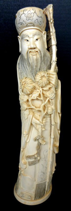Antique Chinese Carved Ivory Elder