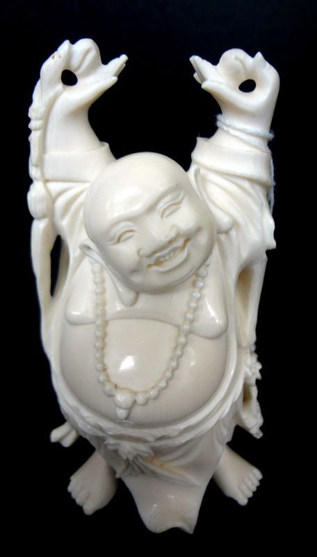 Chinese Carved Ivory Happy Buddha Figure