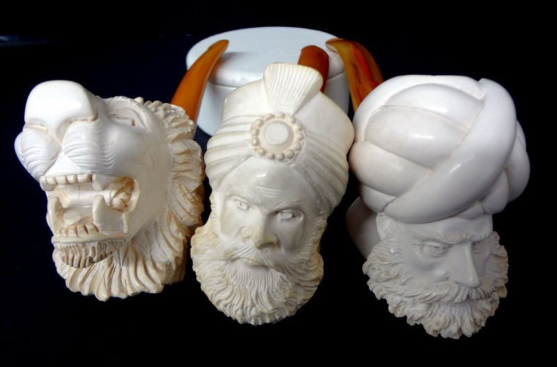 3 Chinese Carved Figural Meerschaum Pipe