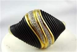 Fine Contemporary 18K YG Onyx Diamond Bangle Bracelet