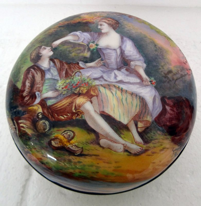 French Enamel Round Covered Box