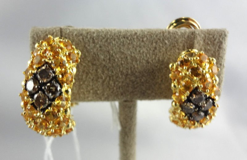 18Kt YG .50ct Diamond, 1.00cts Yellow Garnet Earrings