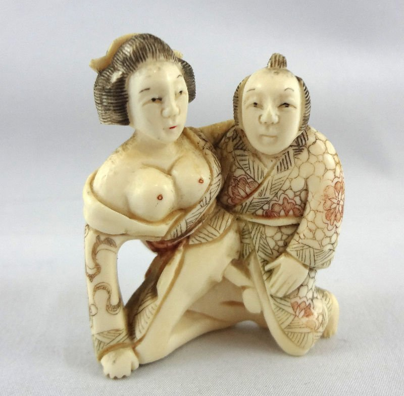Chinese Erotic Ivory 2 Figure Netsuke