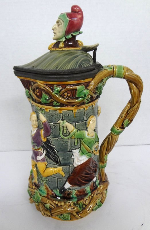 Antique Minton Majolica Figural Hand Painted Pitcher