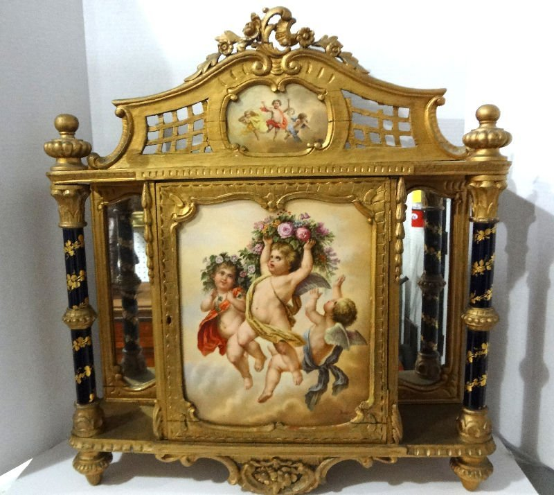 19th Century Austrian Gilt Wood & Vienna Porcelain
