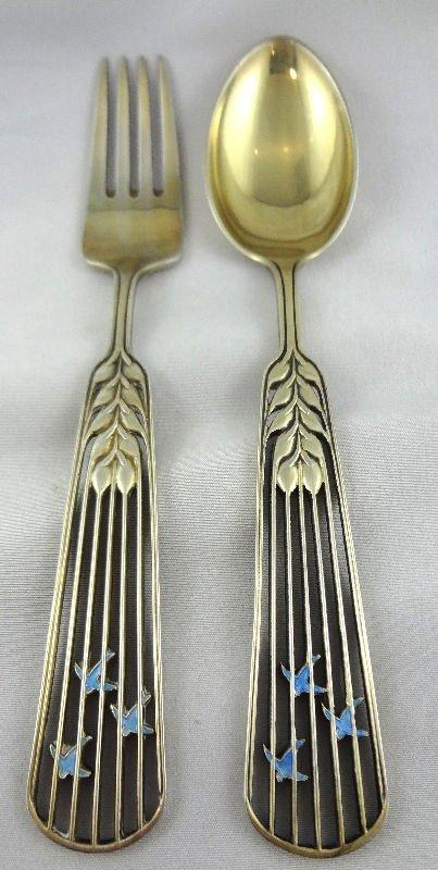 2 Pc. Anton Michelsen Sterling & Enamel Fork/Spoon