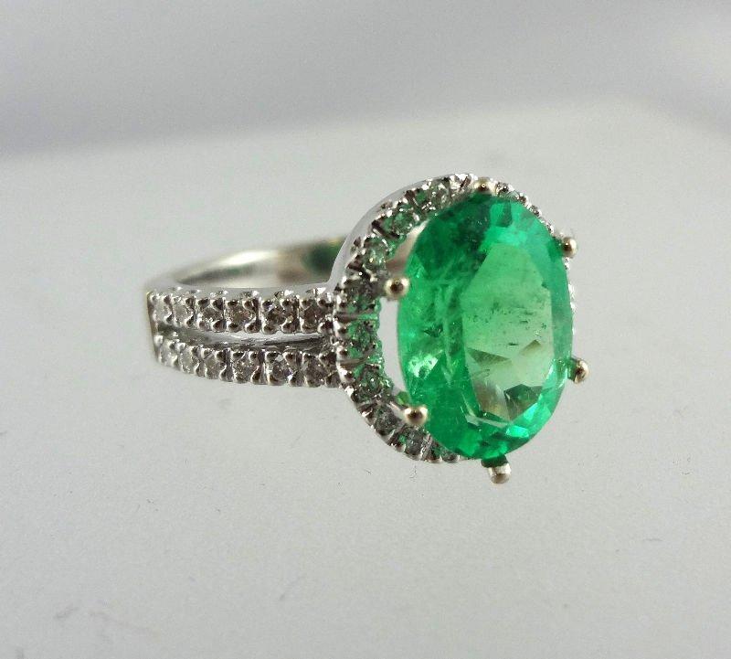 14Kt WG Diamond Emerald Ring
