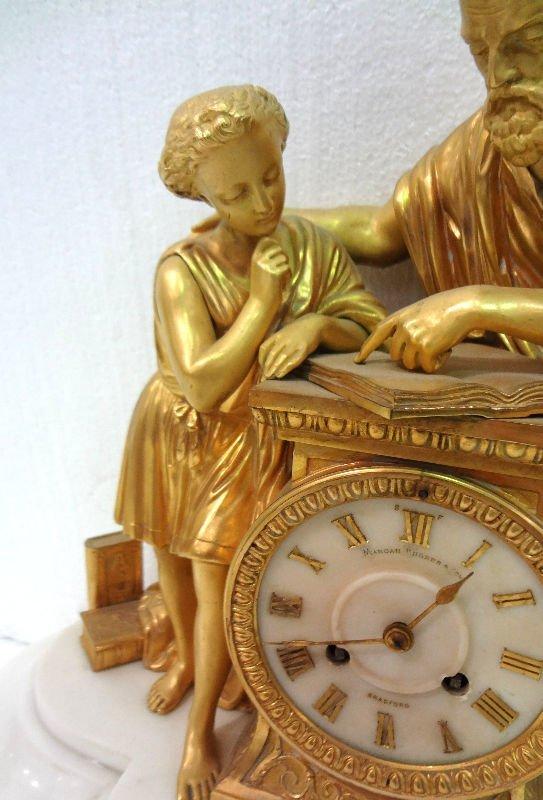 Antique French Dore Bronze Figural Clock Mancah Rhodes