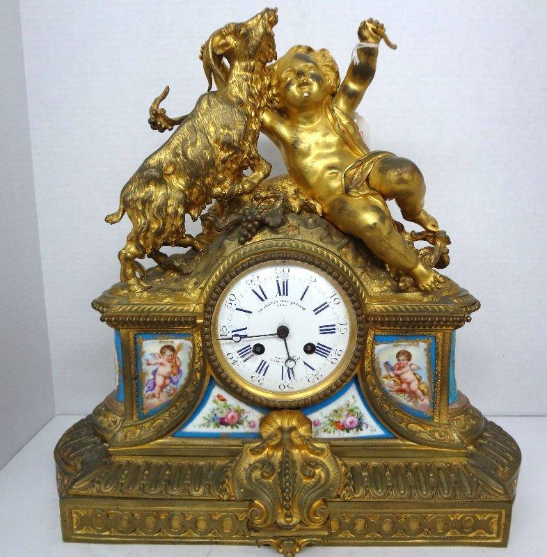 19th C. Sevres Gilt Metal & Porcelain Figural Clock