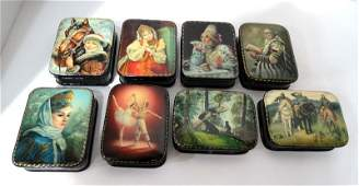 Set of 8 Russian Hand Painted Black Lacquer Boxes