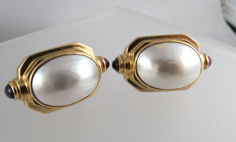 Fine 1970's Ruby, Sapphire & Mabe Pearl Earrings
