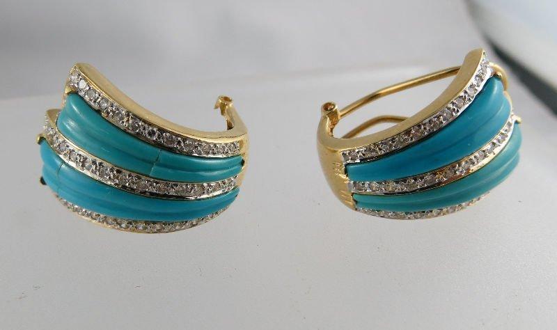 Fine Contemporary 18K Diamond Turquoise Earrings