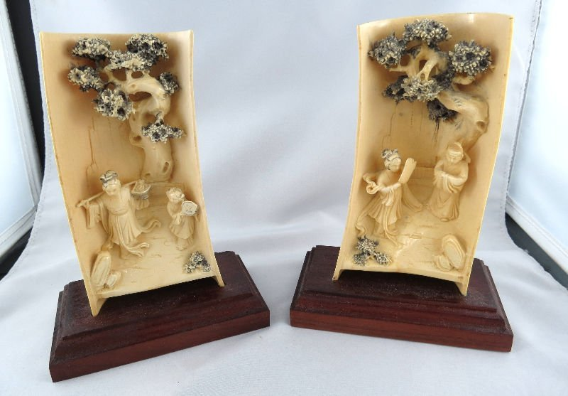 Pair of Finely Carved Chinese Ivory Wristrest