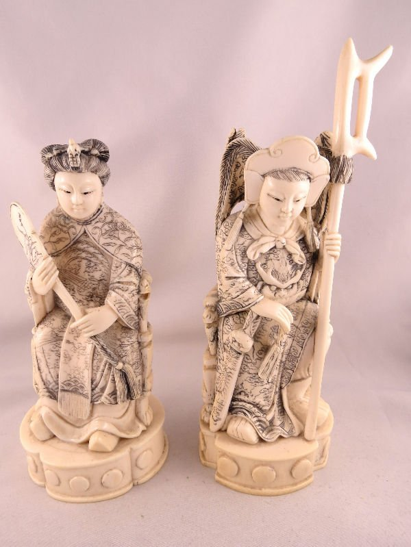 Beautiful Hand Carved Ivory of King & Queen