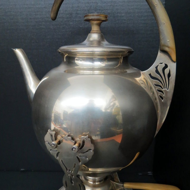 Austrian Hungary Tea Kettle & Stand 800 Silver - 3