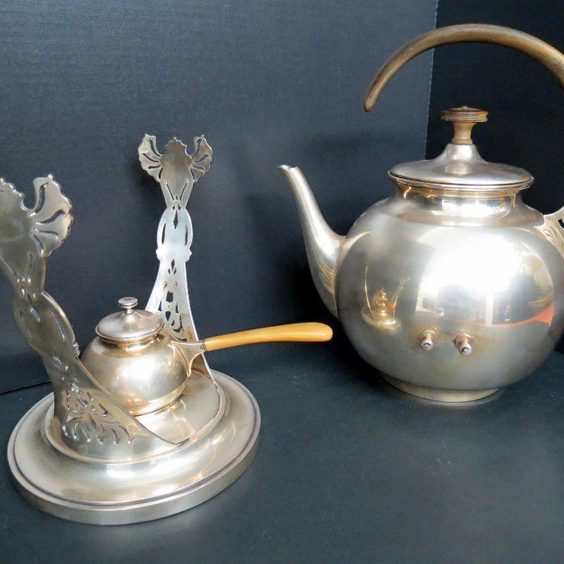 Austrian Hungary Tea Kettle & Stand 800 Silver - 6
