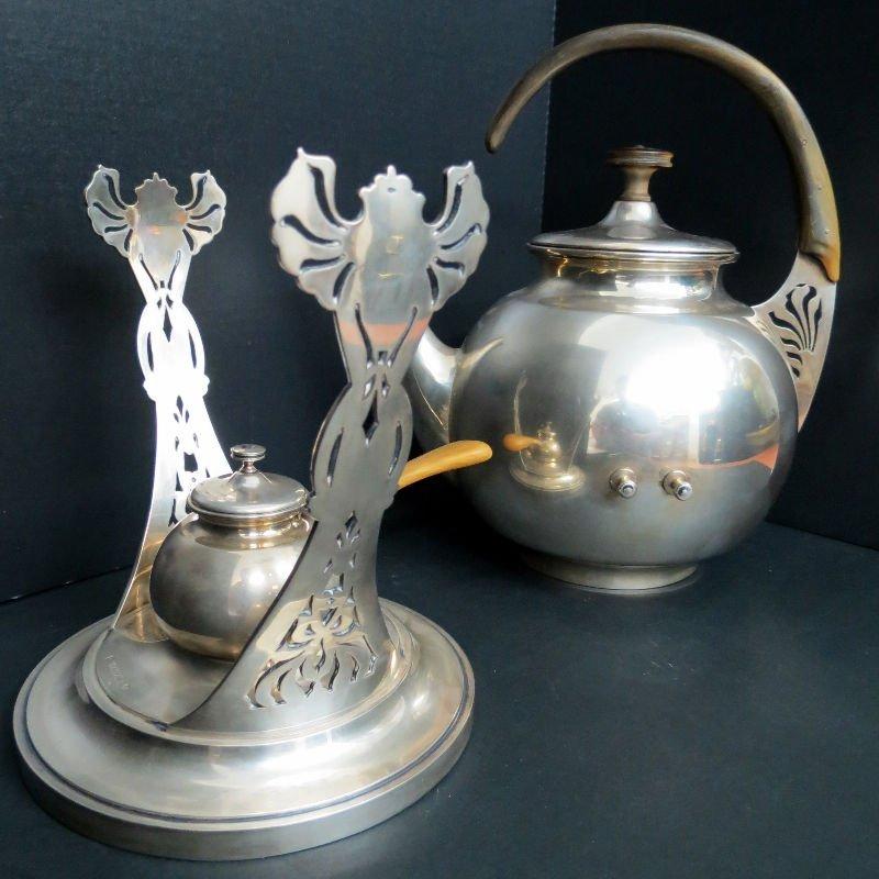 Austrian Hungary Tea Kettle & Stand 800 Silver - 7