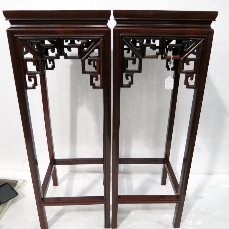 Pr. Chinese Finely Carved Rosewood Square Pedestals