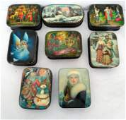 Set of 8 Russian Black Lacquer Hand Painted Boxes