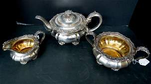 Antique English Sterling Silver 3 Pc Teaset