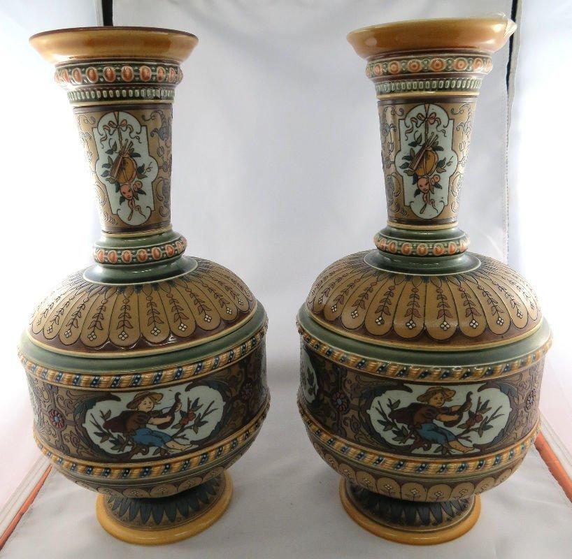 Pair Antique Mettlach Porcelain Etched Flowered Vase