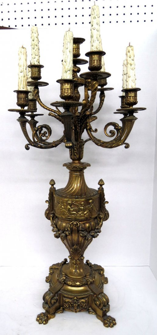 19th C. French Bronze Figural 10 Light Candelabra