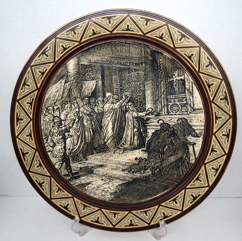 """Antique Mettlach Charger Plaque #1048 """"5"""""""