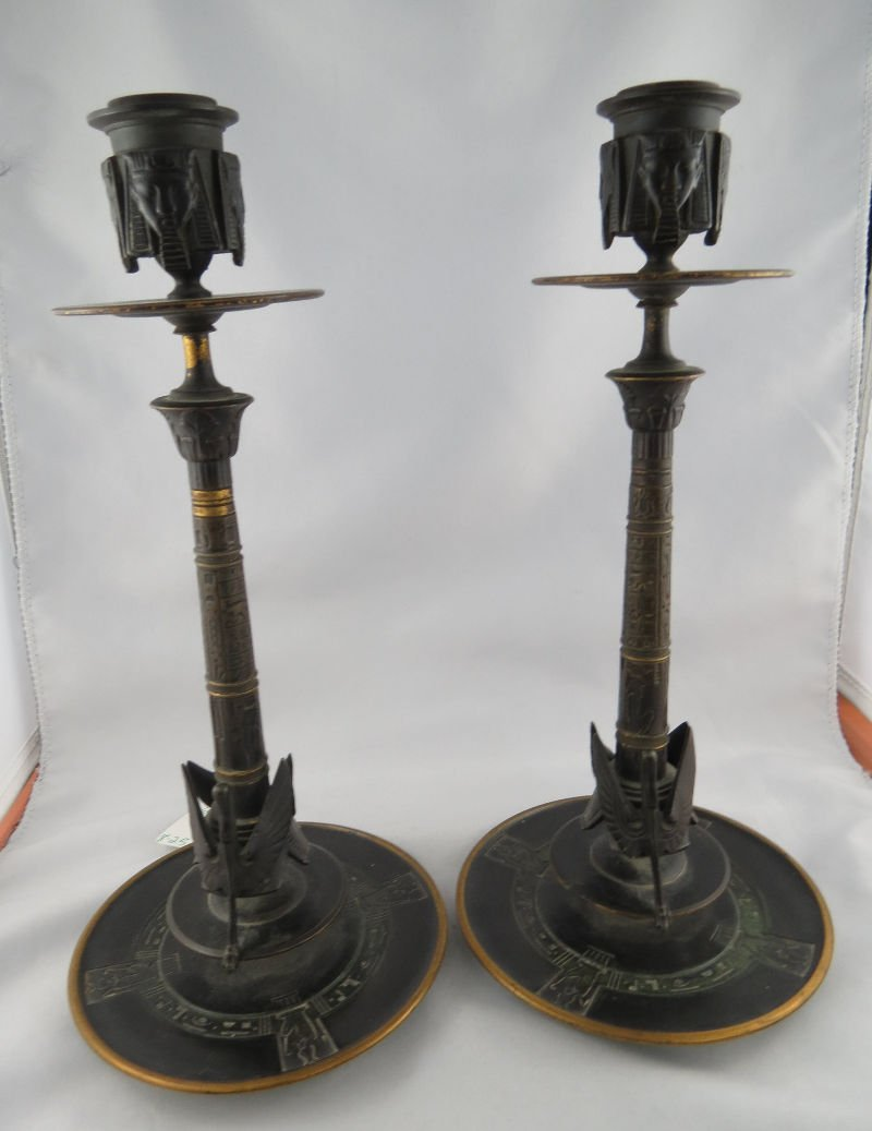 Pair of Empire Egyptian Revival Antique Candlesticks