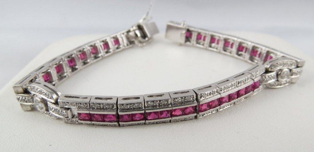 18Kt WG Ladies Ruby & Diamond Bracelet