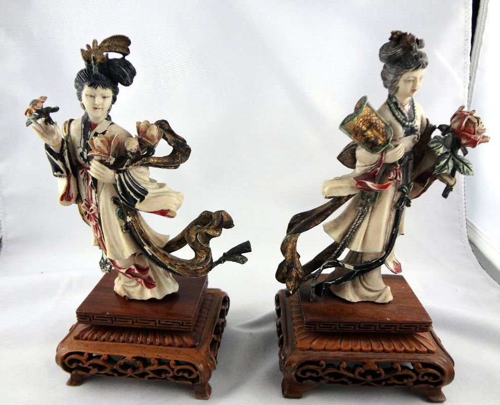 Pair of Chinese Polychrome Ivory Quanyens