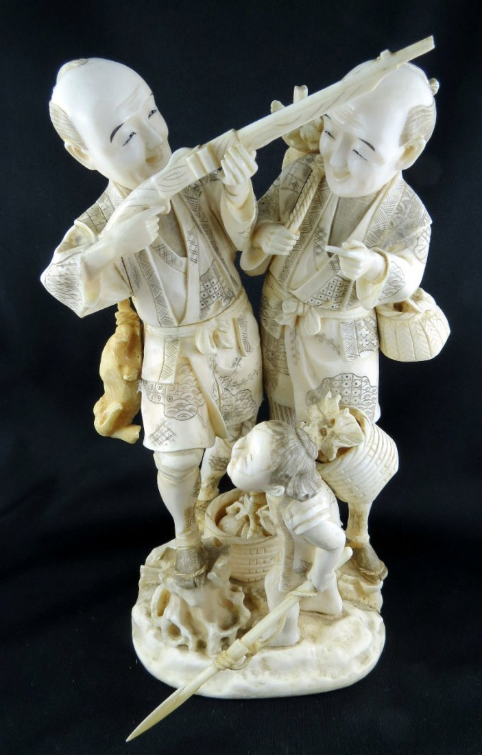 Antique Japanese Hand Carved Ivory Group