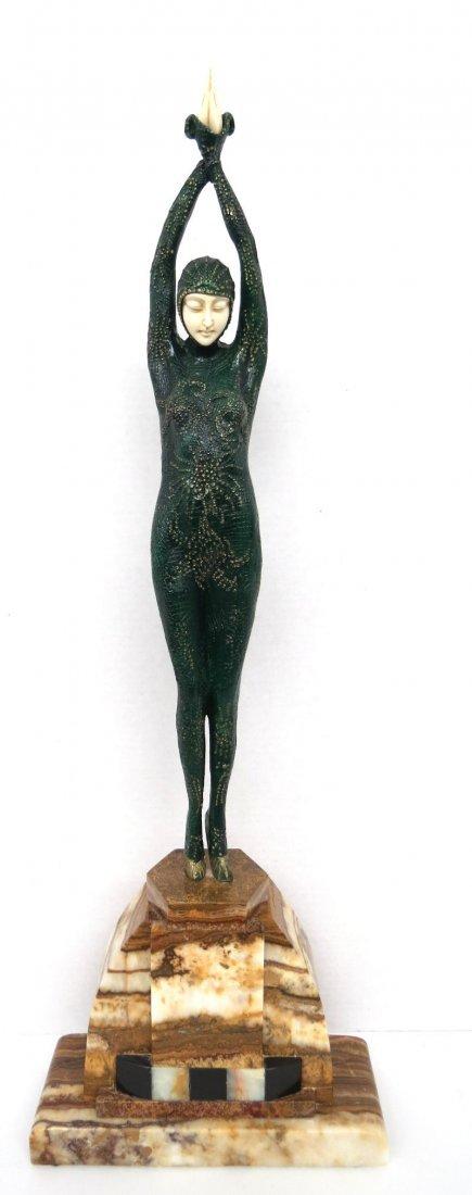 D.H. Chiparus Dancer Bronze Marble & Ivory Sculpture