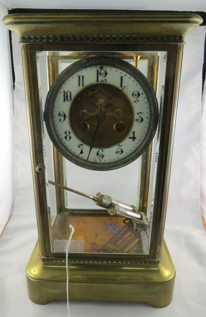 Antique French Brass & Glass Case Mantle Clock