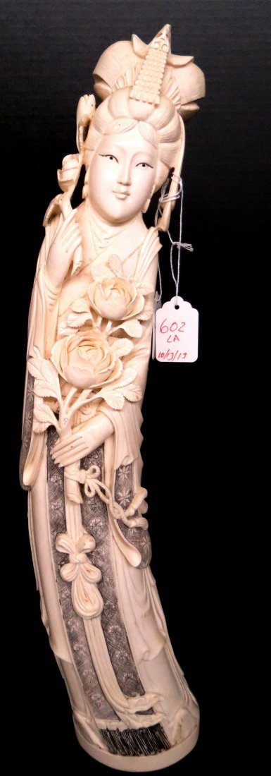 Antique Palace Sized Chinese Hand Carved Ivory Quan Yen