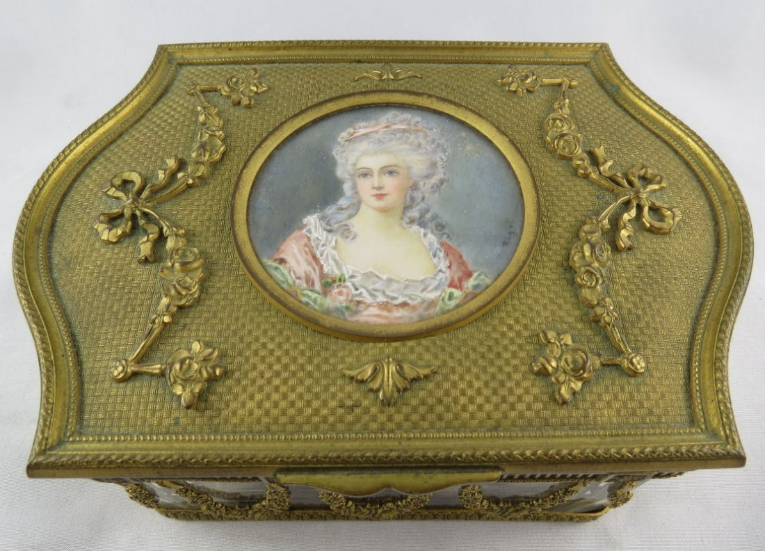 Antique Dore Bronze & Ivory Hand Painted Box