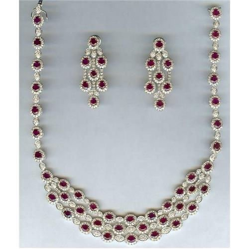 18Kt WG 40.52ct Ruby & 20.90ct Diamond Necklace &