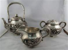 Antique Chinese Sterling Silver 3 Pc Tea Set